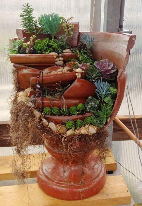 broken pot garden ideas