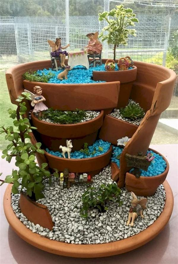 broken pot fairy garden diy