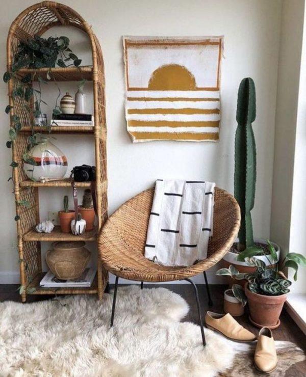 arched wicker shelf