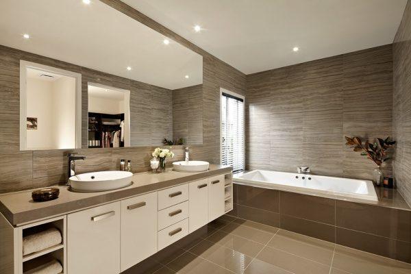 beige and brown bathroom