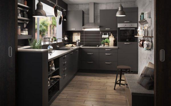 matte black kitchen cabinets