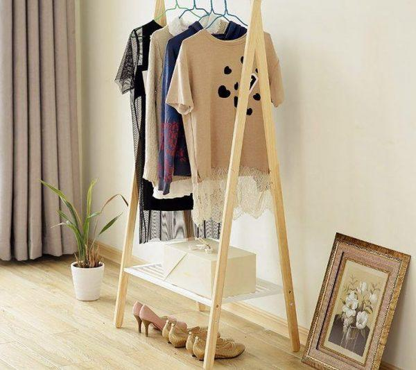 wooden clothes rack with shelf