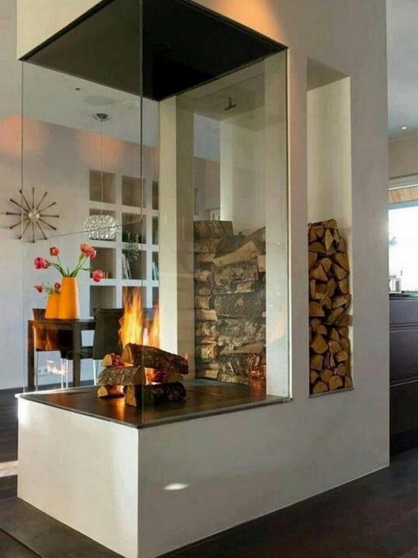 modern firewood holder indoor