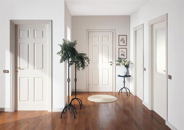 white doors with black hardware