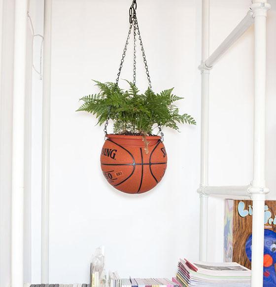 basketball plant holder