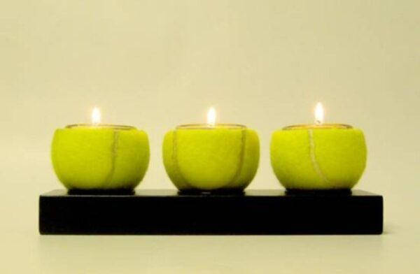 tennis ball candle holder