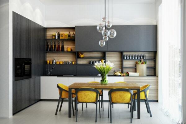 dark gray and yellow kitchen