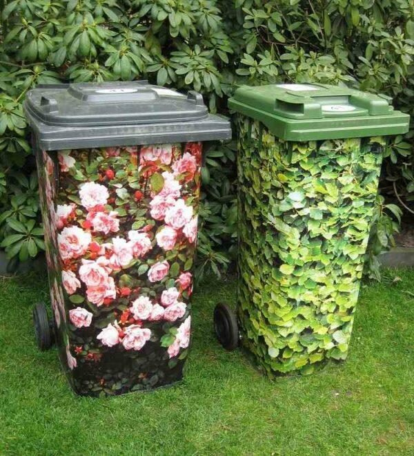 camouflage garbage cans