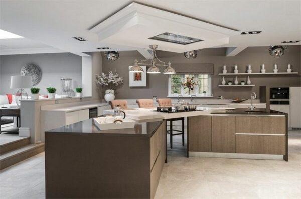 double kitchen island with seating