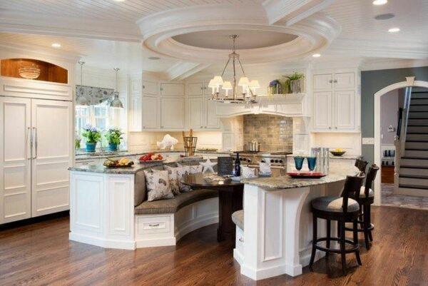 farmhouse double island kitchen