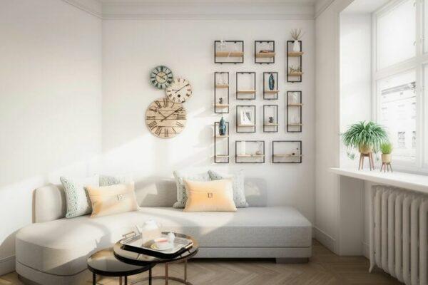 floating shelves above sofa